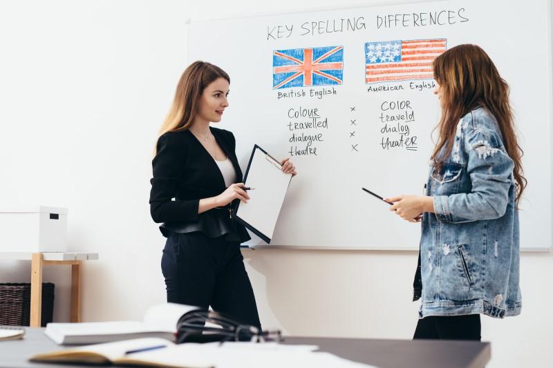 English language school. Lesson, teacher and student talking